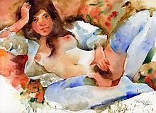 Ewa Ladwiczuk, original erotic watercolor, signed