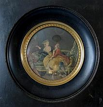 Antique erotic miniature engraving 18th C. Scene