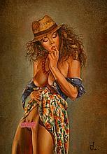 O. Malyshenko - Original oil canvas/board with erotic female -signed