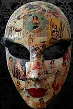 Vintage Italian Mask with mosaic of Pinu-Up Figures