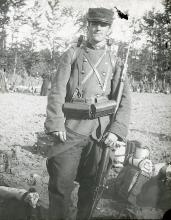 Antique Historical Glass Photographic Sable Soldier, 1900s