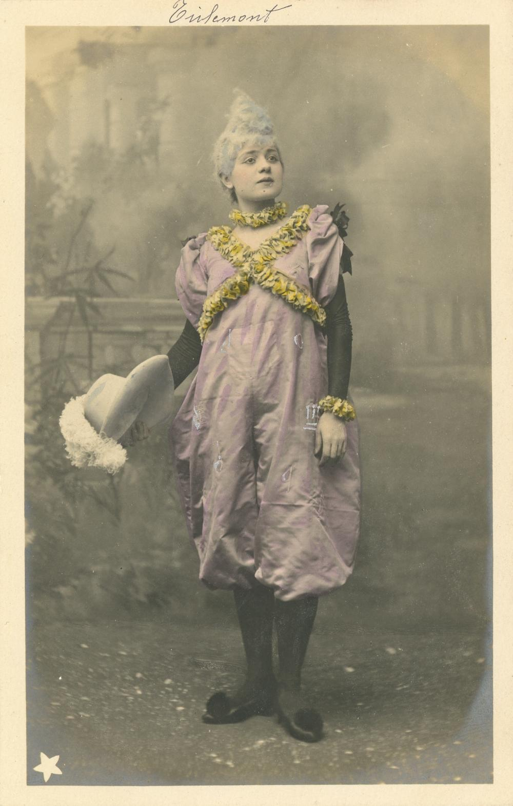 Rare Colored Photo Female Clown PC, Signed, Early 1900s