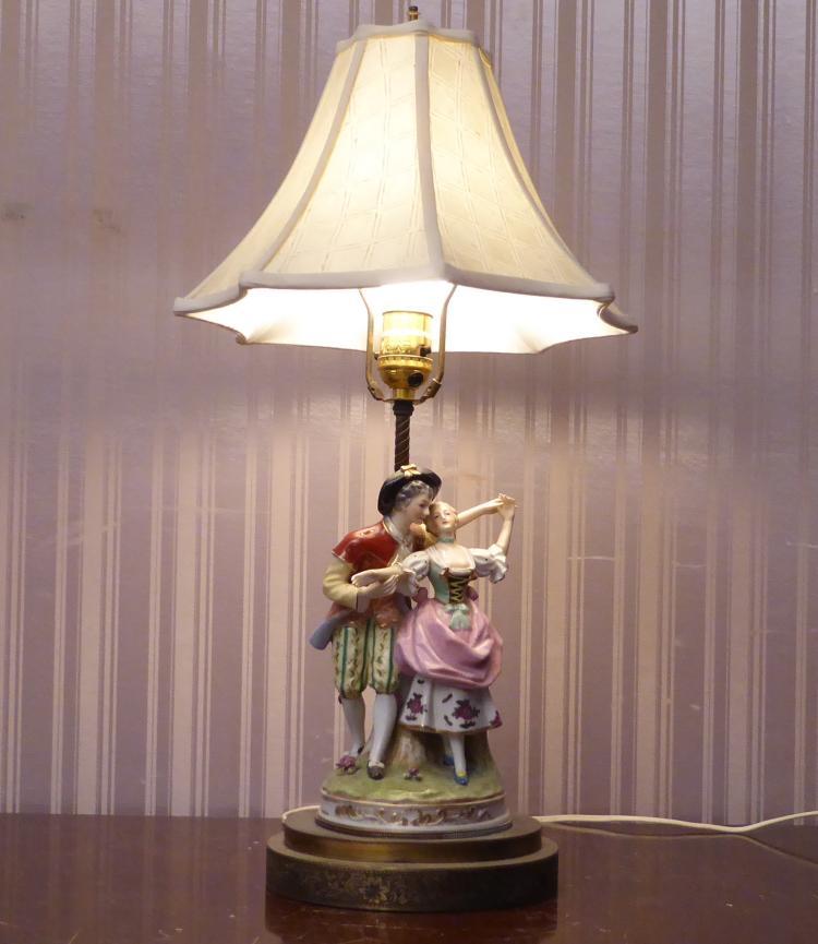 Antique German Porcelain Table Lamp