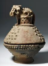 Large Nicoya Pottery Incensario - Demon Lizard