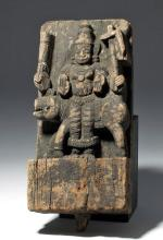 17th C. Rare Indian Carved Wood Plaque w/ God