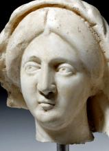Expressive Roman Marble Head of a Woman with Veil