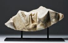 Roman Marble Sarcophagus Fragment - Leg & Torch
