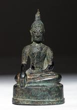 Thai Lanna Near Miniature Bronze Buddha