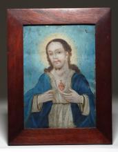 19th C. Mexican Retablo - Jesus of the Sacred Heart
