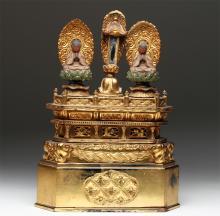 19th C. Japanese Lacquered Wood, Gold Buddhist Shrine