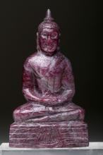 20th C. Thai Carved Buddha - Natural Ruby