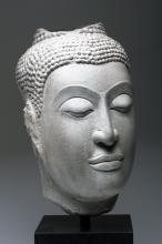 Huge 16th C. Thai Sandstone Head of Buddha