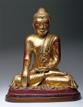 19th C. Burmese Gilded Bronze Mandalay Buddha