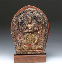 18th C. Nepalese Gilded Copper Panel - Bodhisattva