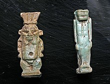 Lot of 2 Egyptian Faience Pendants - Tawaret and Bes