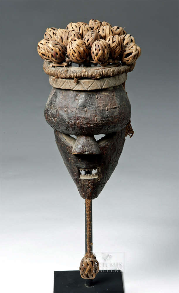 20th C. African Salampasu Wood, Brass, & Rattan Mask