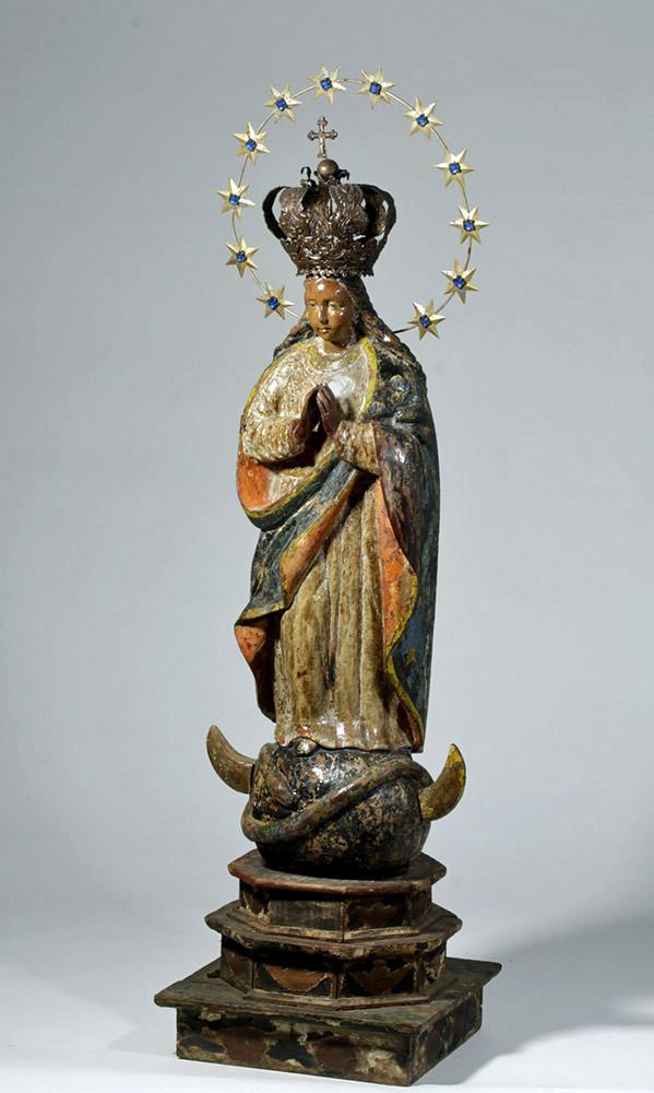 18th C. Spanish Colonial Wood Santo, Mary La Inmaculada