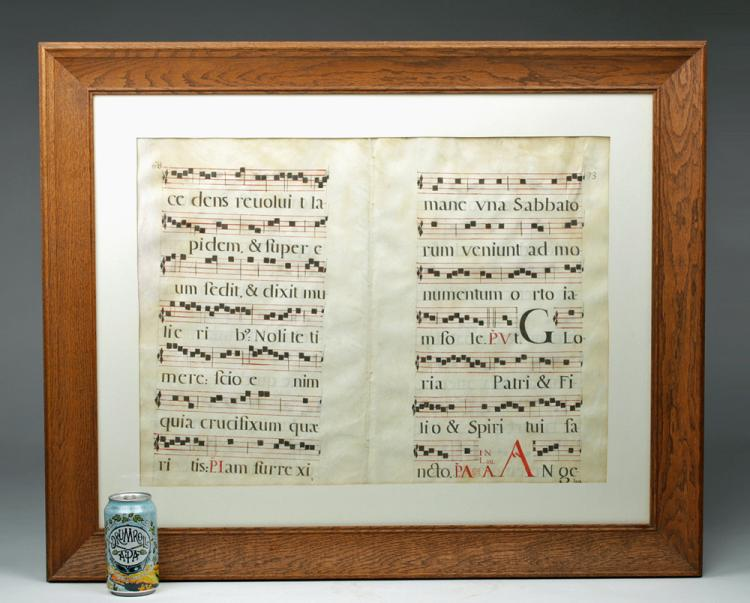 16th C. Framed Spanish Hymnal Pages - Mozarabic
