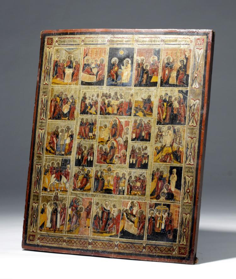 19th C. Russian Icon - Resurrection / Feasts