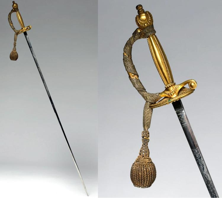 19th C. European Ceremonial Steel / Brass Short Sword