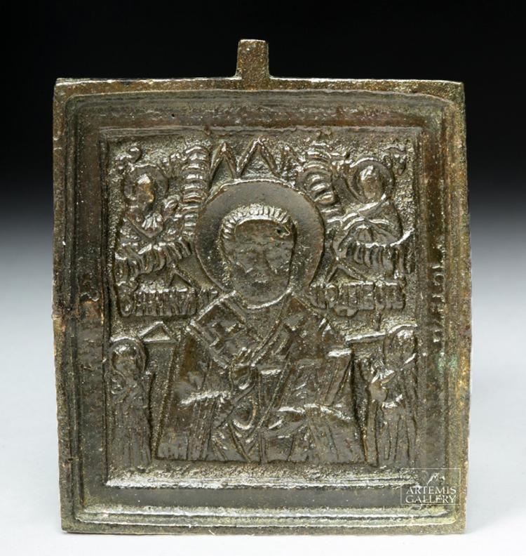 18th C. Russian Bronze Traveling Icon - St. Nicholas