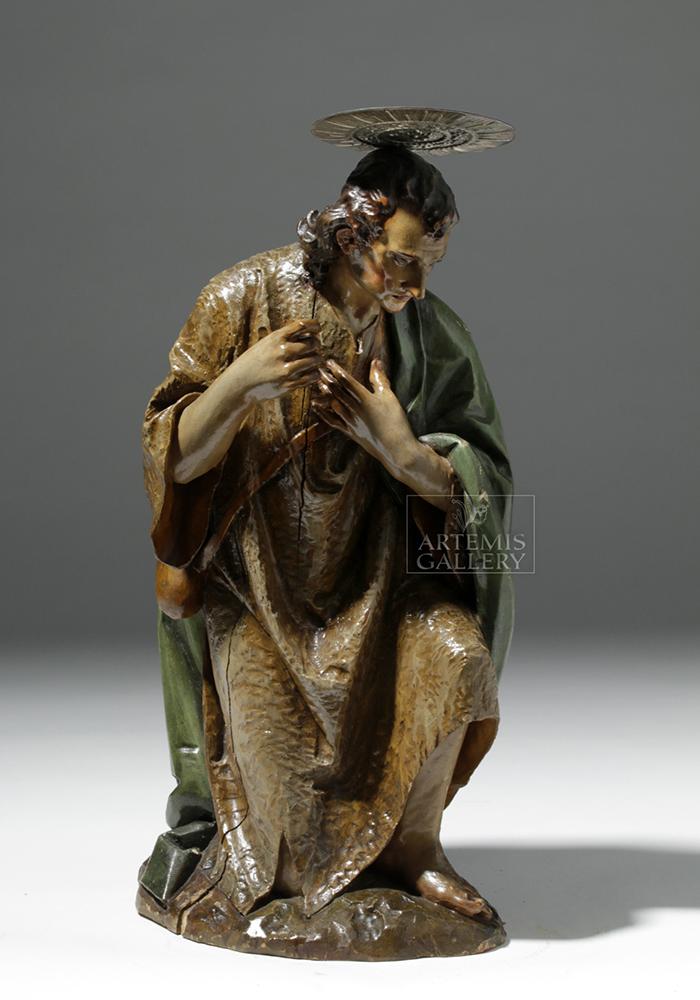 19th C. Mexican Wood Kneeling Christ Santo w/ Corona
