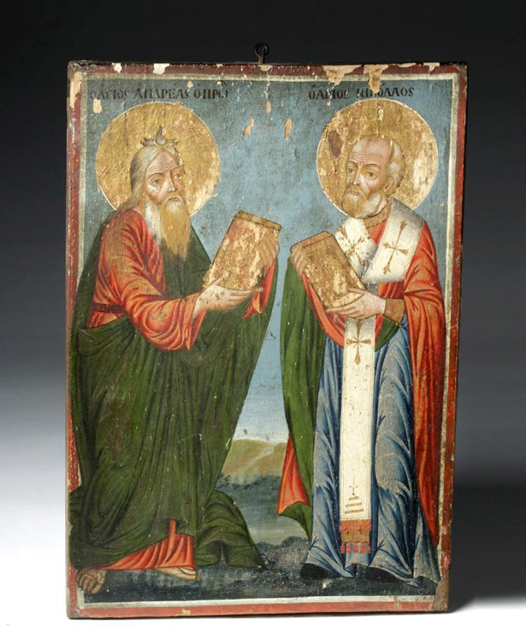 19th C. Greek Icon - Saints Andrew and Nicholas