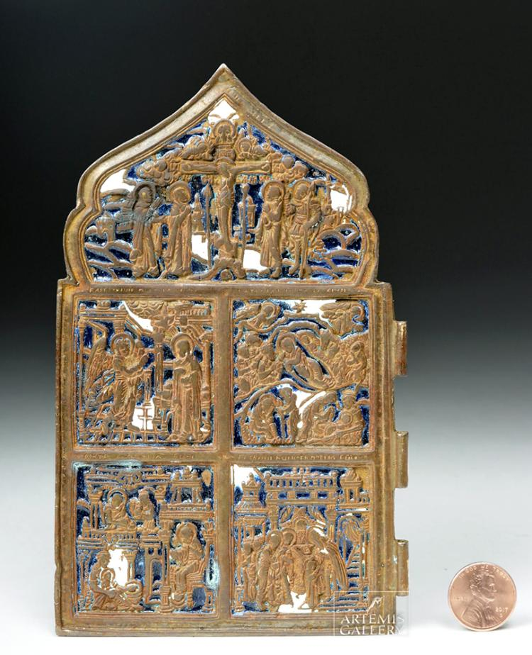 19th C. Russian Brass & Enamel Traveling Icon