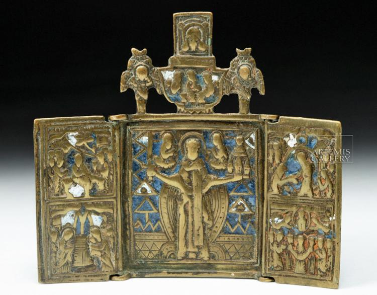 19th C. Russian Brass Enameled Traveling Triptych Icon