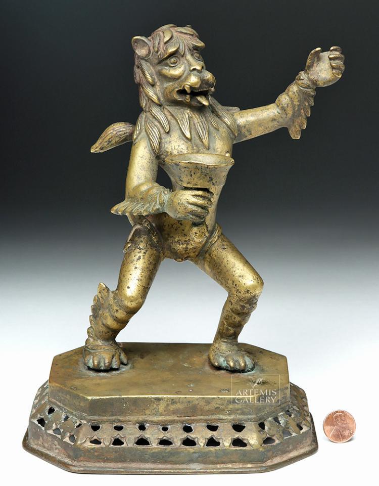 18th C. German Bronze Candlestick -Male / Lion