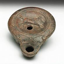 Roman Oil lamp - Leaping Calf
