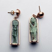 Ancient Egyptian Faience Amulets Set in 14kt Rose Gold Earrings