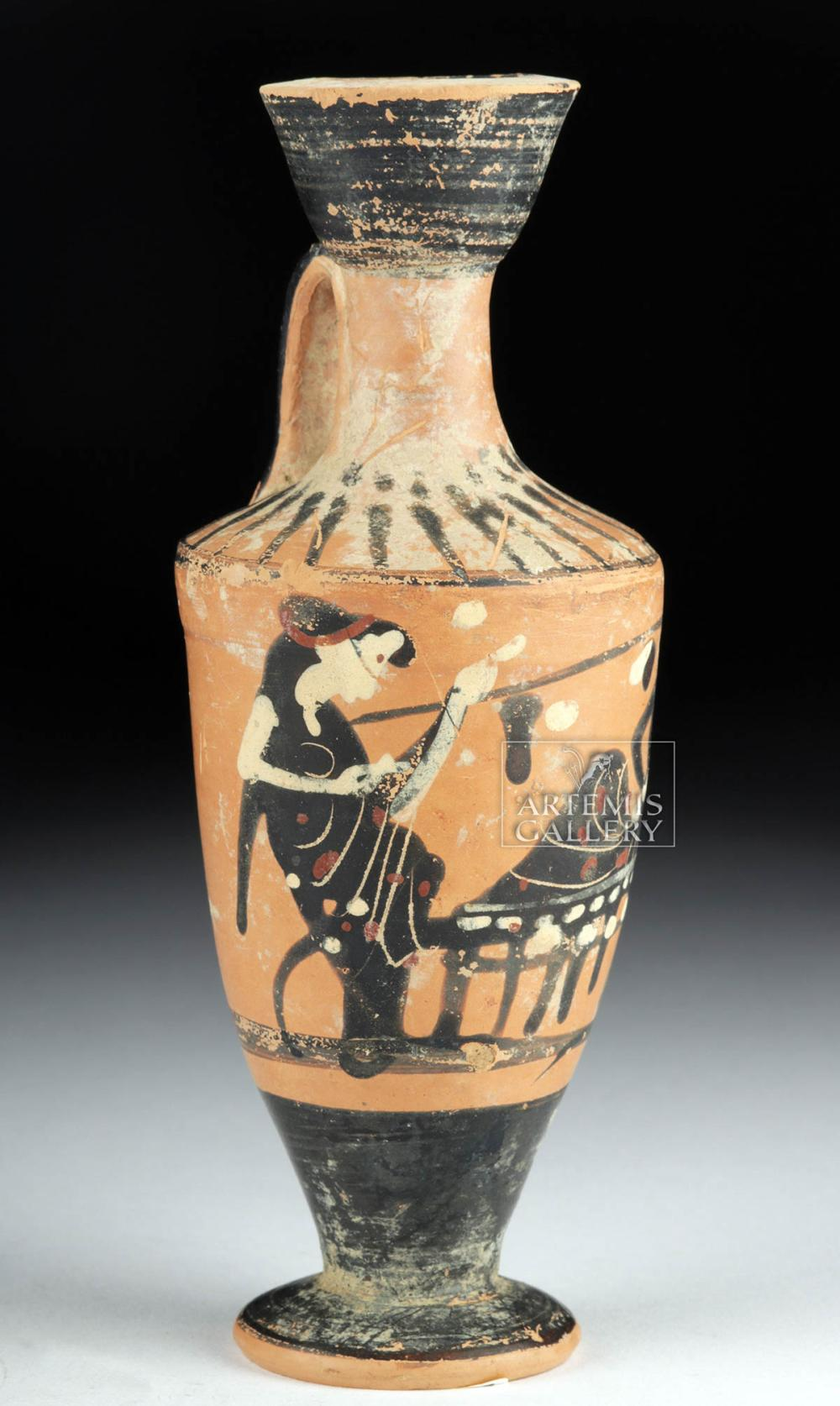 Greek Attic Lekythos Dionysian Scene
