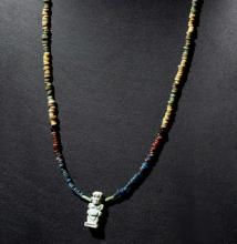 Ancient Egyptian Faience Bead Necklace, Faience Amulet