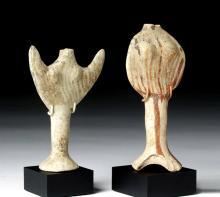 Pair of Greek Boeotian Terracotta Goddesses