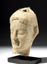 Archaic Greek Terracotta Goddess Head - Rhodes
