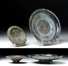 Lot of 2 Greek Blackware Pottery Plates