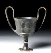 Greek Boeotian Black Glazed Pottery Chalice