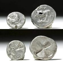 Pair of Ancient Greek / Thracian Silver Coins