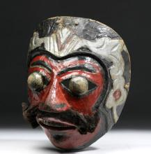 Early 20th C. Indonesian Painted Wood Mask