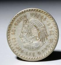 20th C. Mexican Silver 5 Peso Coin - Ex Historia
