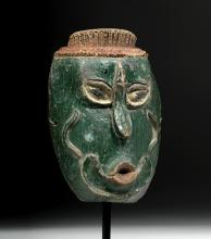 20th C. Indonesian Topeng Wood Mask - Green Face