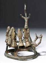 18th C. Burmese Bronze Group - Buddha, Attendants, Deer