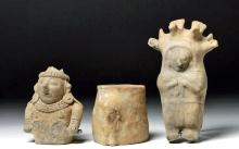 Trio of Jamacoaque Pottery Objects