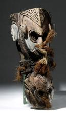 Early 20th C. PNG Double-Headed Painted Wood Figure