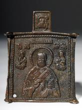 18th C. Russian Bronze Amulet - Christ, Saints