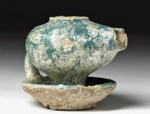Islamic Pottery Oil Lamp with Brilliant Turquoise Glaze