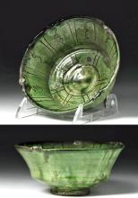 Islamic Green Glazed Pottery Bowl - Incised Designs