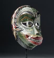 Early 20th C. Indonesian Painted Wood Festival Mask
