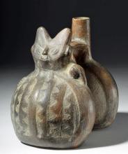 Chimu Redware Pottery Double Lobed Vessel